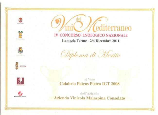 Vini del Mediterraneo diploma merito Patros Pietro 2008