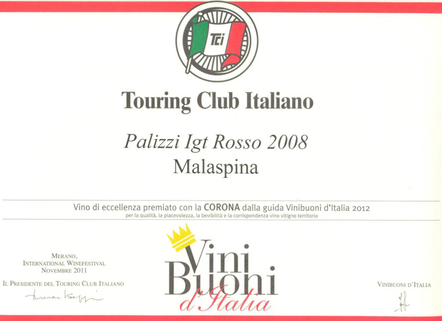 Corona vini buoni d'Italia Palizzi 2008
